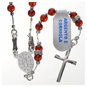 Rosari argento: Rosario argento 800 e corniola
