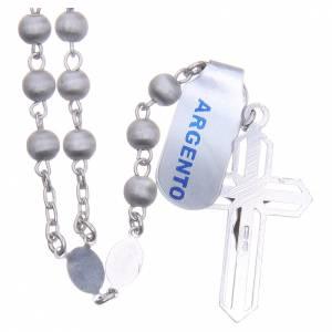 Rosario argento 800 pallino vellutato Vergine Lourdes s2