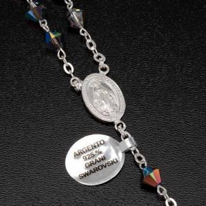 Rosario argento 925 grani swarovski grigio brillante 6 mm s6
