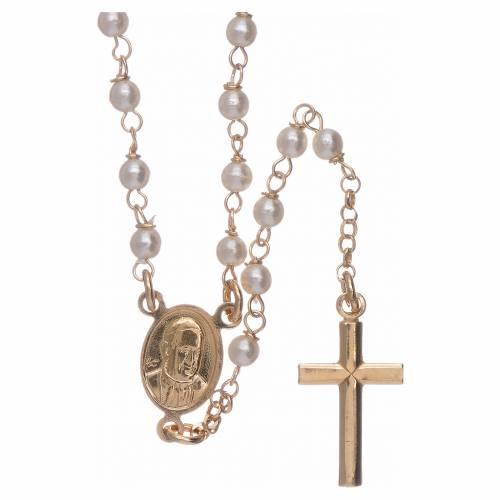 Rosario classico AMEN Giubileo argento 925 dorato e perle Swarovski s2