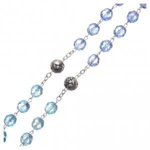 Rosario cristallo sfumature blu crociera parlante INGLESE 8 mm s3