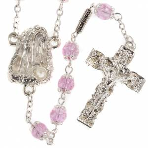 Rosarios Ghirelli Outlet: Rosario Ghirelli gruta de Lourdes vidrio rosado 6mm