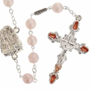 Rosarios Ghirelli Outlet: Rosario Ghirelli vidrio perlado rosado Gruta Lourdes 7mm