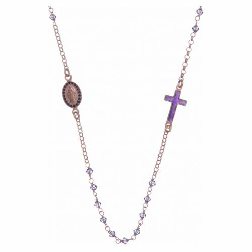 Rosario girocollo argento 925 rosato con Swarovski viola s1