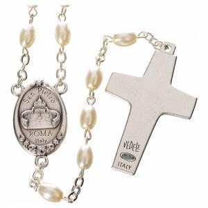 Rosarios símil perla: Rosario imitación perla Papa Francisco con cuentas ovales