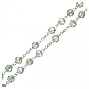 Rosario in cristallo verde e metallo ossidato s3
