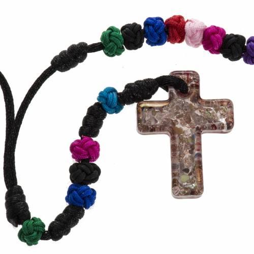 Rosario Medjugorje multicolor cruz de vidrio s1