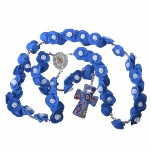 Rosario Medjugorje rose blu croce vetro Murano s4