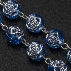 Rosari portarosari Medjugorje: Rosario Medjugorje roselline pvc blu metallo