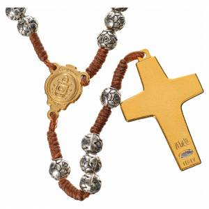 Rosario metallo Papa Francesco roselline corda s2