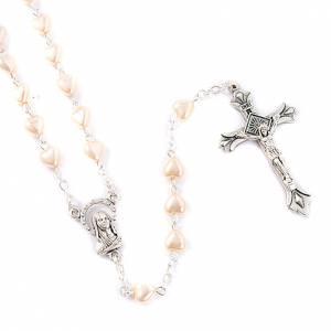 Rosarios símil perla: Rosario símil perla corazón