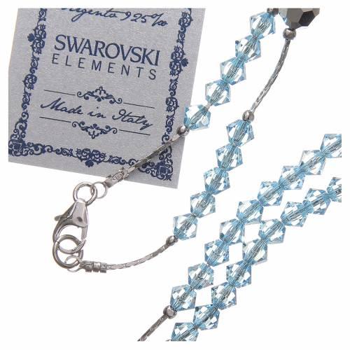 Rosario Swarovski e argento 925 grani 4 mm azzurro s3