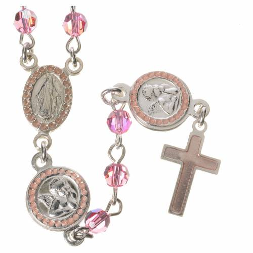Rosary beads in 800 silver pink  Swarovski, Guardian Angel s1
