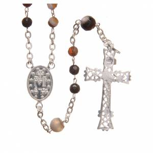 Silver rosaries: Rosary beads in Brazilian agate and sterling silver, 4mm brown