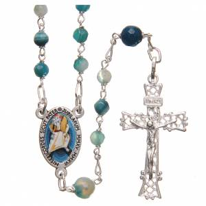 Silver rosaries: STOCK Rosary beads in Brazilian agate and sterling silver with Pope Francis 4mm light blue