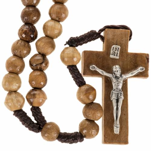 Rosary beads in olive wood from Holy Land and rope 8 mm s1
