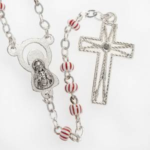 Rosary beads in red & white glass 4 mm s3