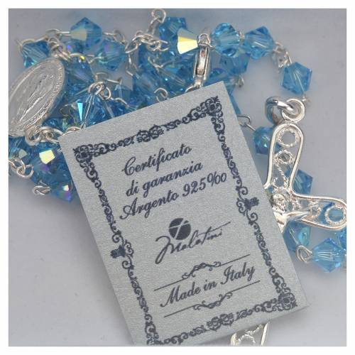 Rosary beads in silver and Swarovski 0,2in aqua 5