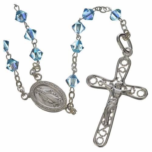 Rosary beads in silver and Swarovski 0,2in aqua 1