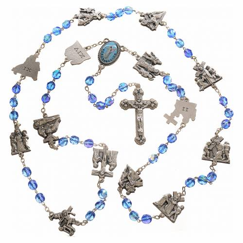 Rosary beads, stations of the cross, light blue crystal s4