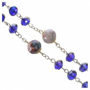 Rosary beads with crystal and porcelain 8x6mm blue s3