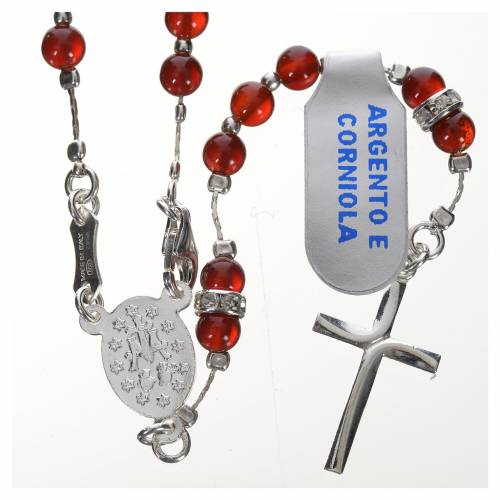 Rosary in 800 silver and carnelian s2