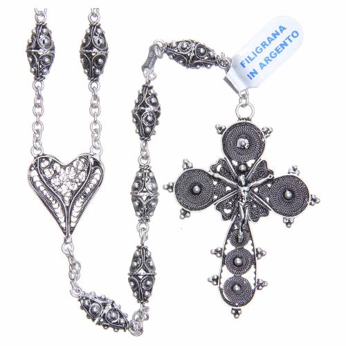 Rosary in 800 silver filigree, 126cm circumference s1