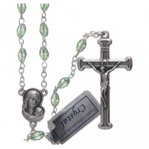 Rosary in green crystal with cross and center piece in oxidised metal s1