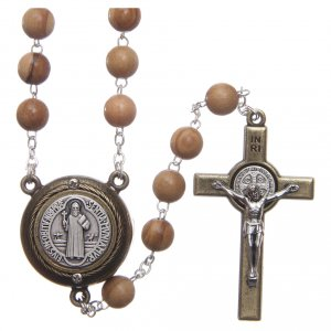 Rosary in light brown wood with Pope Francis talking prayer ITALIAN 8 mm s1