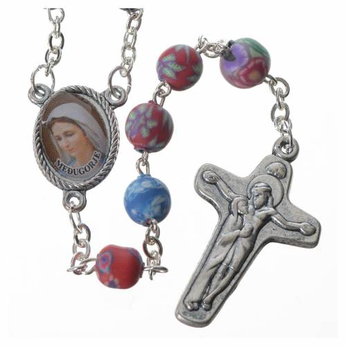Rosary in multicoloured fimo, 6mm with Medjugorje soil s1