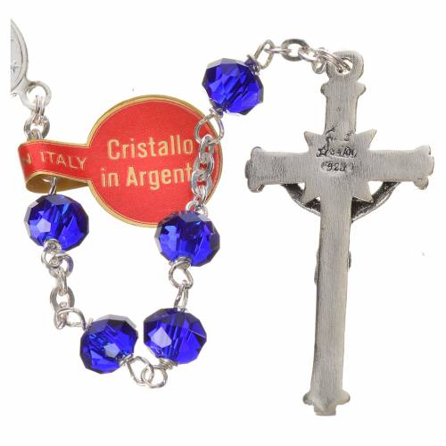 Rosary in opaque crystal and 800 silver, 6mm blue s3