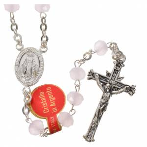 Rosary in opaque crystal and 800 silver, 6mm pink s1