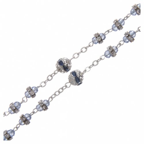 Rosary in oxidised metal sapphire pearl with strass s3