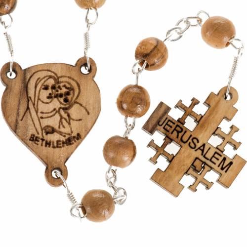 Rosary Jerusalem crucifix, Palestinian olive wood 7mm s1