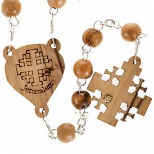 Rosary Jerusalem crucifix, Palestinian olive wood 7mm s2
