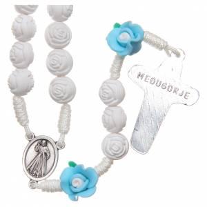 Rosary Medjugorje roses with cross, white & light blue s2