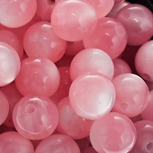 Rosary parts, round mother of pearl imitation pink beads s3