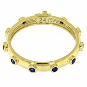 Rosary Ring AMEN gilded silver 925, blue zircons s3