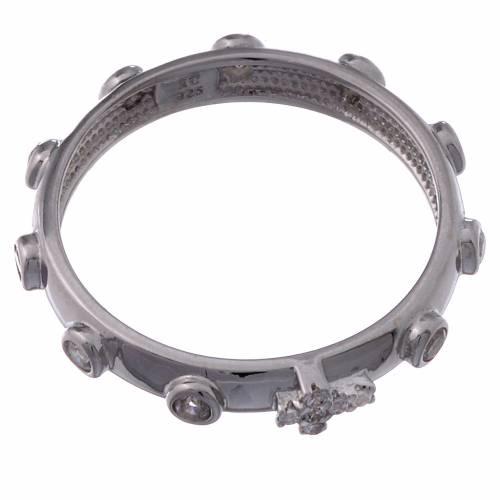 Rosary Ring AMEN rhodium-plated silver 925, white zircons s2