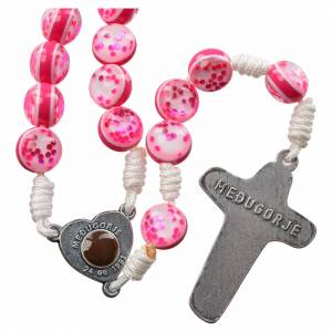Rosary with Medjugorje soil in pink glass and cord s2