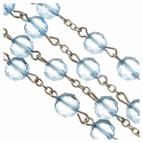 Rosary with satin crystal grains, light blue s4