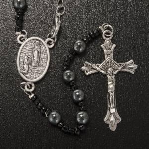 Schmuckstein Rosenkränze: Rosenkranz Halskette aus Hämatit Madonna von Lourdes