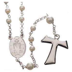 Silber Rosenkränze: Rosenkranz MATER weiß Perlen und Silber mit Tau Kreuz