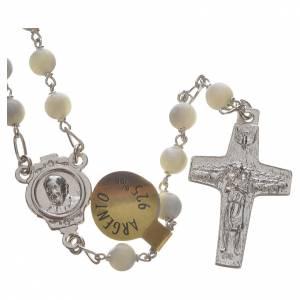Silber Rosenkränze: Rosenkranz Perlmutt und Silber Papst Franziskus