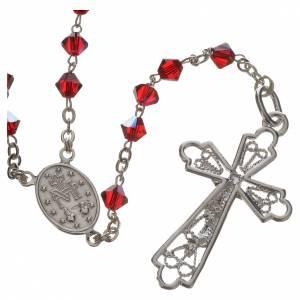 Silber Rosenkränze: Rosenkranz Silber und roten Swarovski Perlen 5mm
