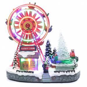 Villages de Noël miniatures: Roue panoramique illuminée avec éclairage 30x30x20 cm