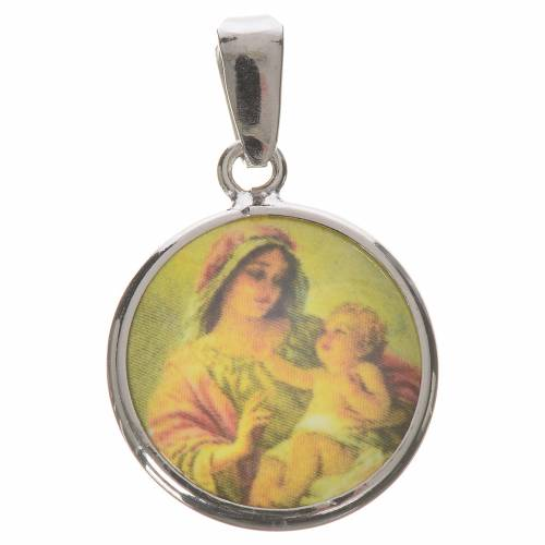 Round medal in silver, 18mm Our Lady with Baby Jesus s1
