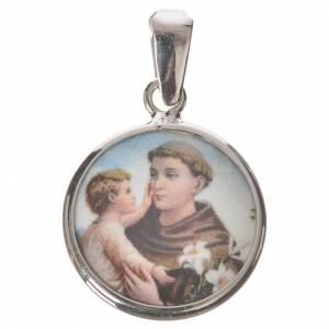 Round medal in silver, 18mm Saint Anthony s1