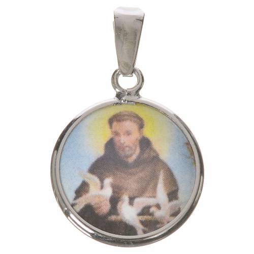 Round medal in silver, 18mm Saint Francis s1