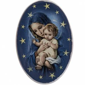Round shaped magnet Virgin Mary, baby Jesus, terracotta s1